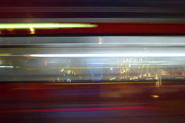 Photograph - Double Decker Bus Blur 2 by Michael Gerbino