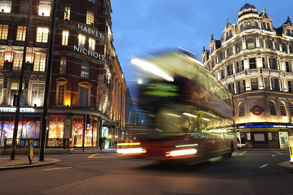 Stores Photograph - Double Decker Bus Blur by Michael Gerbino