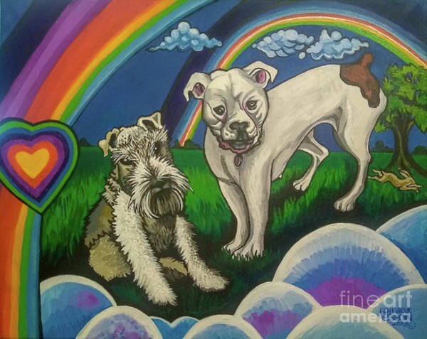 Fox Terrier Wall Art - Painting - Double Dog Portrait Double Rainbows by Genevieve Esson