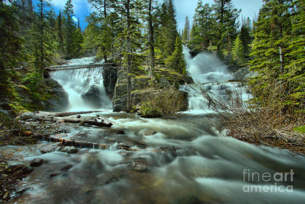 Wall Art - Photograph - Double Falls At Glacier Park by Adam Jewell