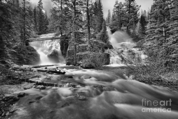 Wall Art - Photograph - Double Falls At Glacier Park Black And White by Adam Jewell
