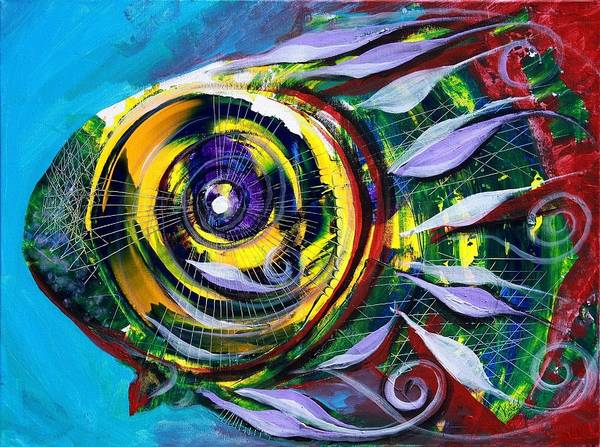 Painting - Double-gilled Girlfriend Fish by J Vincent Scarpace