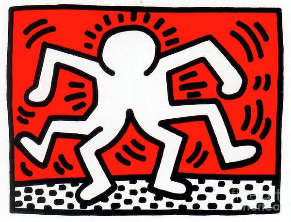 Wall Art - Painting - Double Man by Haring