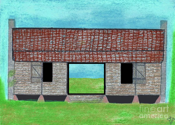 Drawing - Double Pen Dogtrot Cracker Home  by D Hackett