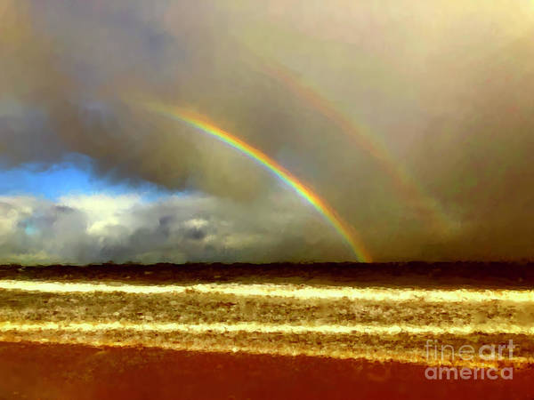 Digital Art - Double Rainbow Over The Sea by Russell Kightley