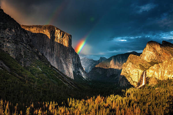 Wall Art - Photograph - Double Rainbow Over Yosemite by Andrew Soundarajan