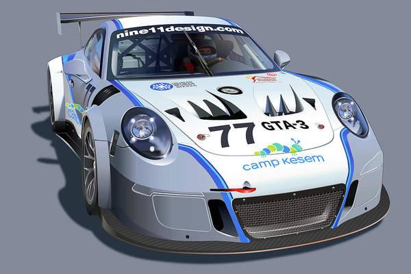 Wall Art - Drawing - Doug Baron Porsche Gt3 Mr by Alain Jamar