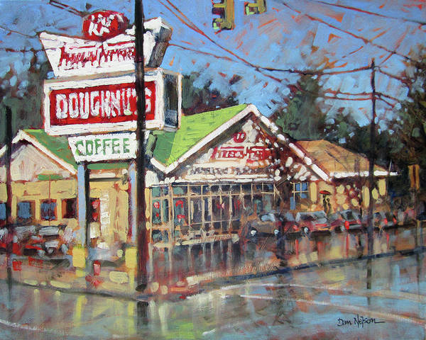Wall Art - Painting - Doughnuts In The Rain by Dan Nelson
