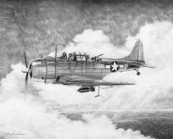 Drawing - Douglas Sbd Dauntless Of The Us Marines by Douglas Castleman
