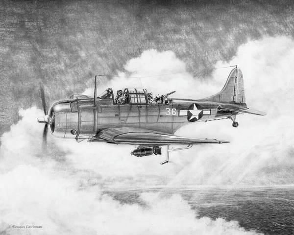 Drawing - Douglas Sbd Dauntless Of The Us Marines by Douglas Castleman