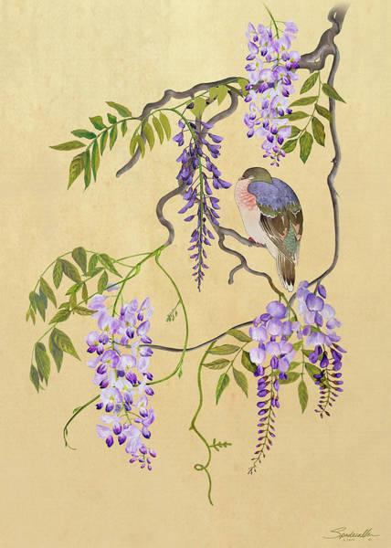 Wall Art - Digital Art - Dove Sleeping In Wisteria Tree  by Spadecaller