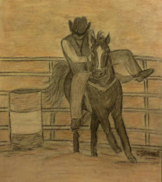 Wall Art - Drawing - Down At The Rodeo by Christy Saunders Church