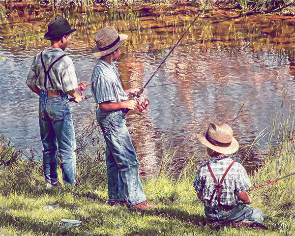 Fishing Pole Digital Art - Down By The Fishin' Hole by Rick Wiles