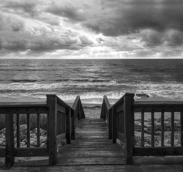 Photograph - Down To The Beach In Black And White by Debra and Dave Vanderlaan
