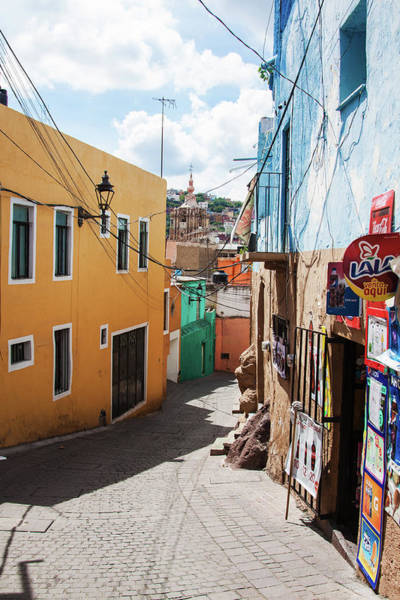 Photograph - Downhill Narrow Street In Guanajuato, Mexico 2 by Tatiana Travelways