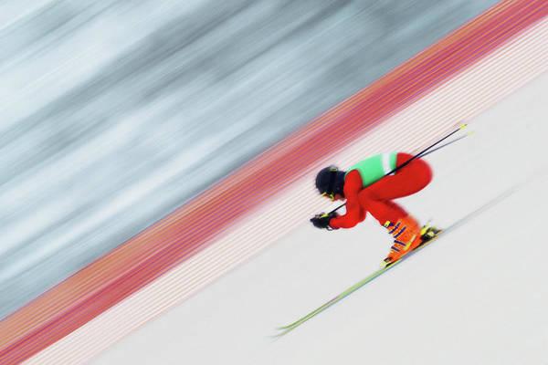 Alpine Skiing Photograph - Downhill Ski Racer Speeding Down by David Madison