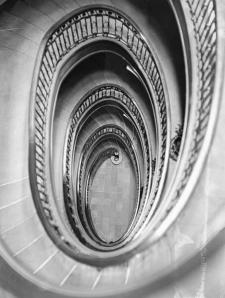 Vertical Perspective Photograph - Downstairs by Topical Press Agency