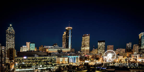 Photograph - Downtown Atlanta Ga Skyline At Night Wide by Sanjeev Singhal