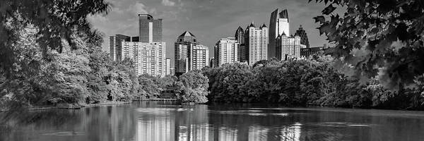 Photograph - Downtown Atlanta Panoramic Monochrome From Piedmont Park by Gregory Ballos