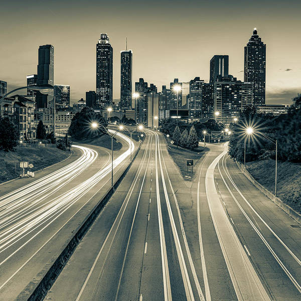 Photograph - Downtown Atlanta Skyline At Dusk - Sepia Edition by Gregory Ballos