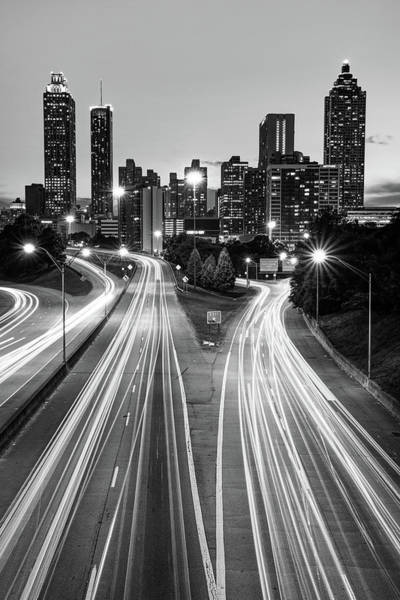 Photograph - Downtown Atlanta Skyline From Jackson Street Bridge - Monochrome by Gregory Ballos