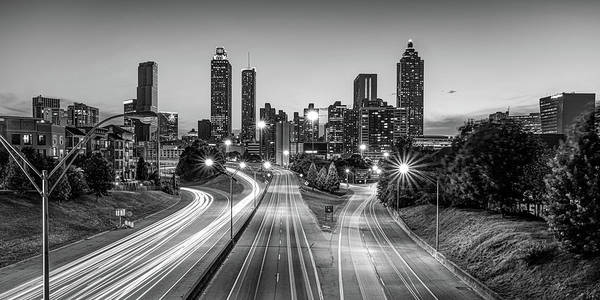 Photograph - Downtown Atlanta Skyline Panoramic View - Monochrome Edition by Gregory Ballos