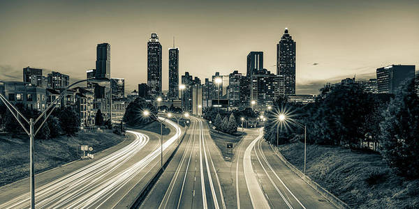 Photograph - Downtown Atlanta Skyline Panoramic View - Sepia Edition by Gregory Ballos