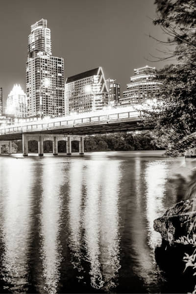 Photograph - Downtown Austin Skyline Over Lady Bird Lake - Sepia Edition by Gregory Ballos