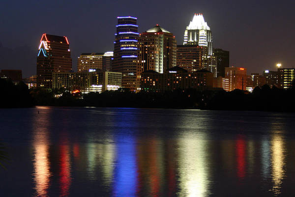 Waters Edge Wall Art - Photograph - Downtown Austin Skyline by Xjben