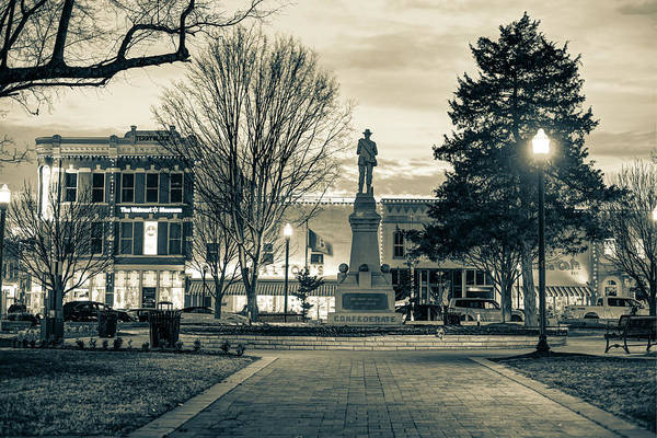 Photograph - Downtown Bentonville Square Fountain - Sepia Edition by Gregory Ballos