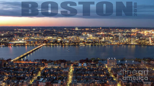 Photograph - Downtown Boston At Night With Charkes River In The Middle by PorqueNo Studios