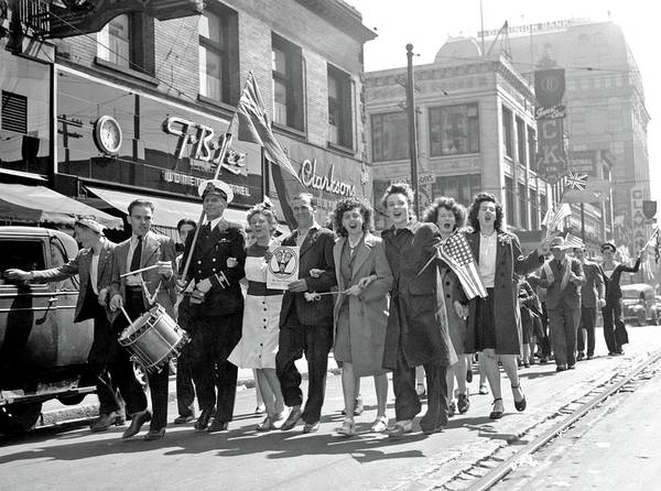 Wall Art - Painting - Downtown Celebration At End Of World War II  May 7  1945c V E Day In Vancouver by Celestial Images
