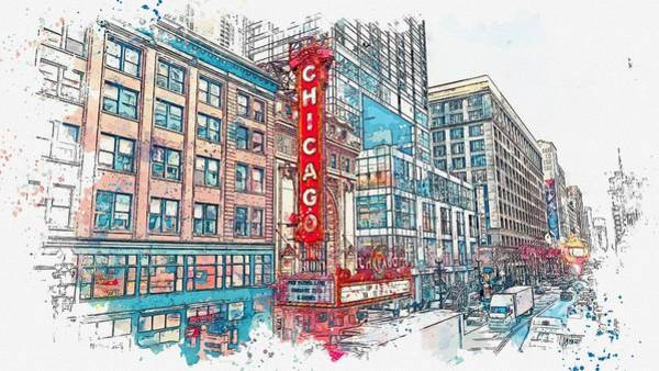 Lake District Painting - downtown chicago 2, watercolor by Adam Asar by Adam Asar