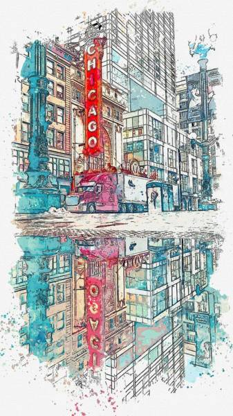 Lake District Painting - downtown chicago 2, watercolor by Adam Asar by Celestial Images