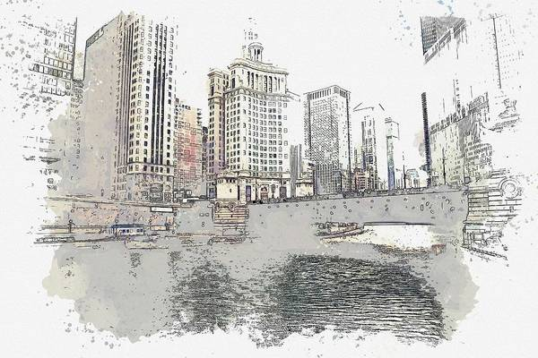 Lake District Painting - Downtown Chicago, River    Watercolor By Ahmet Asar by Celestial Images
