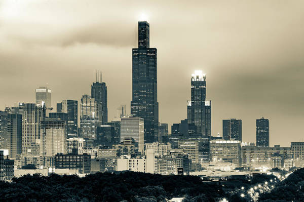 Photograph - Downtown Chicago Skyline In Sepia by Gregory Ballos