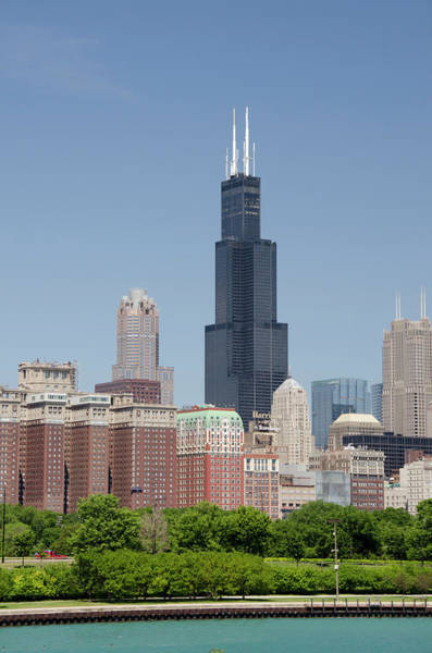 Willis Tower Photograph - Downtown City Skyline View Of Chicago by Danita Delimont