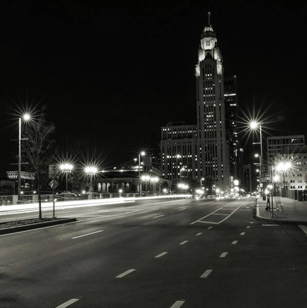 Photograph - Downtown Columbus Black And White by Dan Sproul