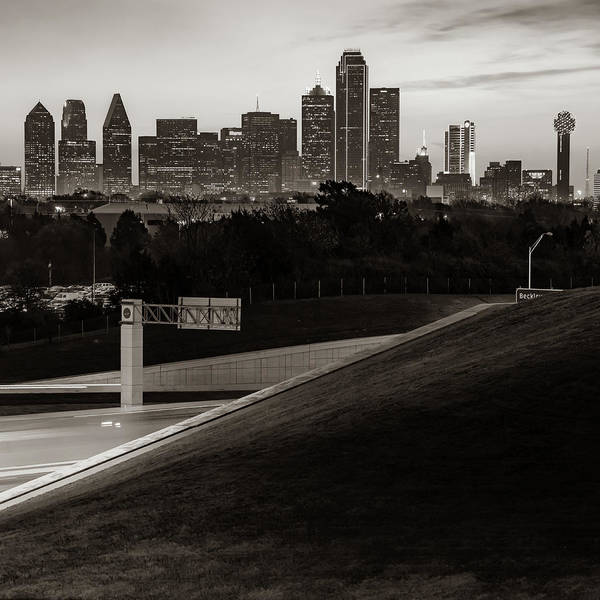 Photograph - Downtown Dallas City Skyline - Square Sepia Edition by Gregory Ballos