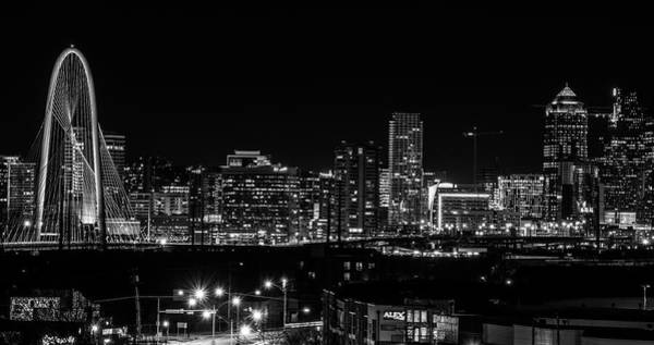 Photograph - Downtown Dallas Skyline Panorama Black And White by Dan Sproul