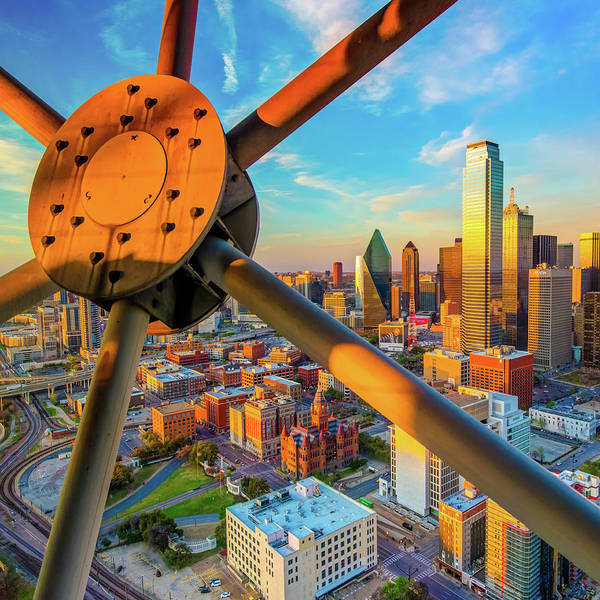 Photograph - Downtown Dallas Texas Skyline At Sunset 1x1 by Gregory Ballos