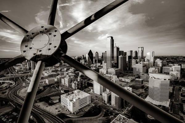 Photograph - Downtown Dallas Texas Skyline Through Reunion Tower - Sepia Edition by Gregory Ballos