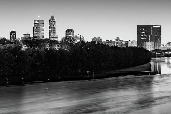 Photograph - Downtown Indianapolis Skyline On The White River - Black And White by Gregory Ballos
