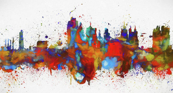 Wall Art - Painting - Downtown Kansas City Colored  by Dan Sproul