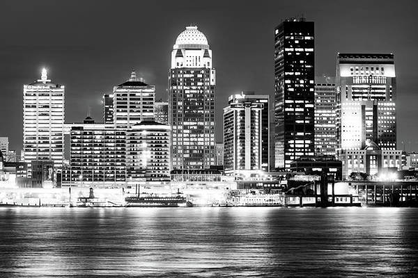 Photograph - Downtown Louisville Kentucky Skyline At Dusk - Black And White by Gregory Ballos