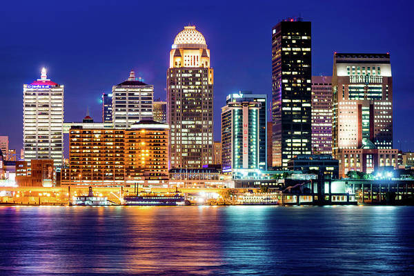 Photograph - Downtown Louisville Kentucky Skyline At Dusk by Gregory Ballos