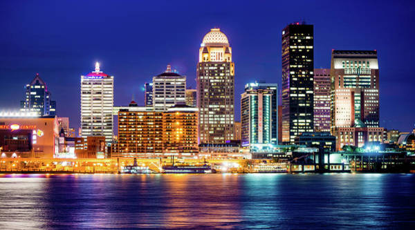 Photograph - Downtown Louisville Kentucky Skyline Panorama At Dusk by Gregory Ballos