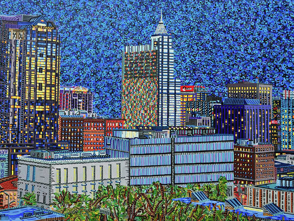 Wall Art - Painting - Downtown Raleigh - City At Night by Micah Mullen