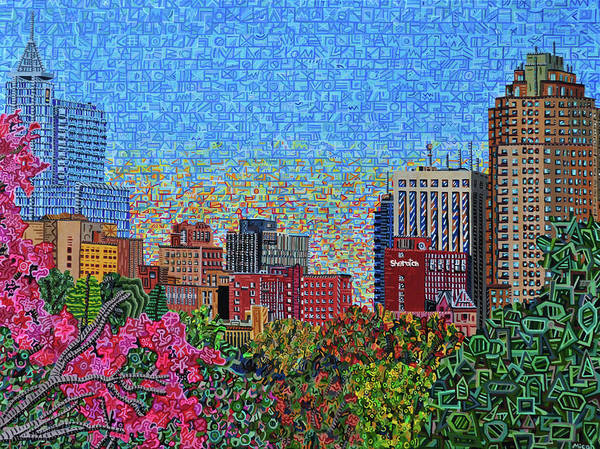 Wall Art - Painting - Downtown Raleigh - October Sunset by Micah Mullen