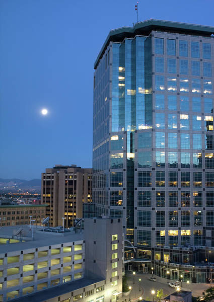 Parking Garage Photograph - Downtown Salt Lake City By Moonlight by Jsteck